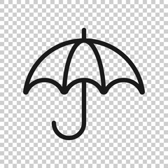 Umbrella icon in transparent style. Parasol vector illustration on isolated background. Umbel business concept.