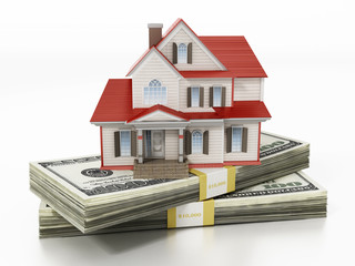 House standing on lots of 100 dollar bills. 3D illustration