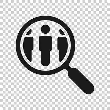 Search job vacancy icon in transparent style. Loupe career vector illustration on isolated background. Find people employer business concept.