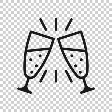 Сhampagne glass icon in transparent style. Alcohol drink vector illustration on isolated background. Cocktail business concept.