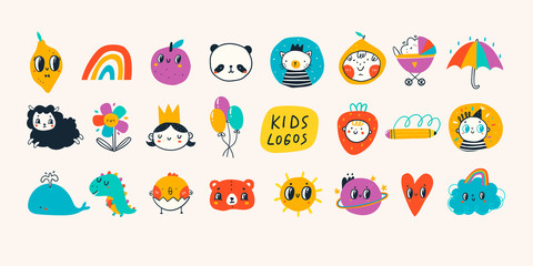 Various simple, doodle, cute,  minimalistic icons for kids. Hand drawn logos. Big vector set. Children's drawings style. Design elements. Cartoon style. Flat design. Everything is isolated