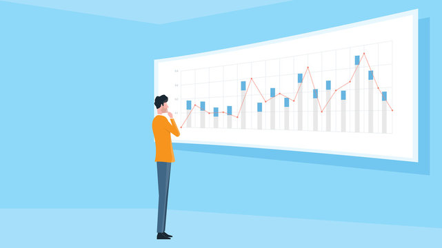 business man standing on financial graph report monitor concept