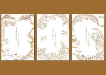 Japanese template vector. Asian brush painting line background. Crane, carp fish, dragon, falcon, Fuji mountain elements.
