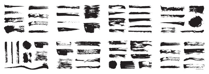 Korean, Chinese, Japanese ink brush strokes, blots, sprinkles, dabs and daubs set. Collection of grungy vector ink elements.