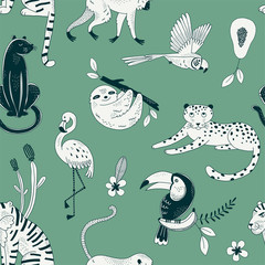 Tropical rainforest animals vector color seamless pattern. Exotic plants and fruits background. Flora and fauna. Flamingo, panther, guepard. Decorative orange textile, wallpaper, wrapping paper design
