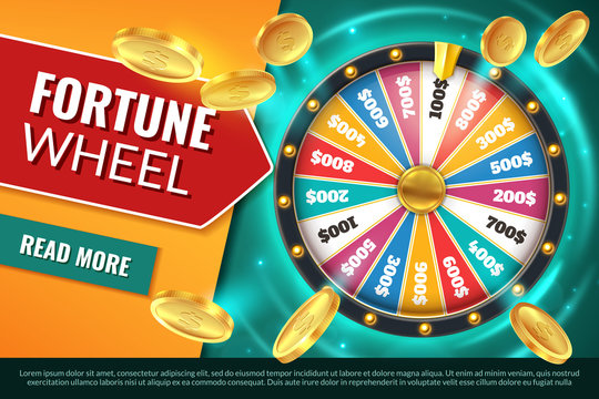 Wheel fortune. Lucky jackpot winner text banner, casino prize spinning roulette. Game win chance circle gambling vector background