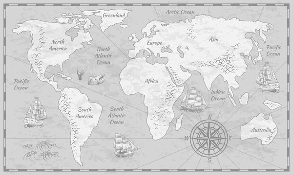 Gray world map. Earth antiquity paper map with continents ocean sea old sailing vector globe background