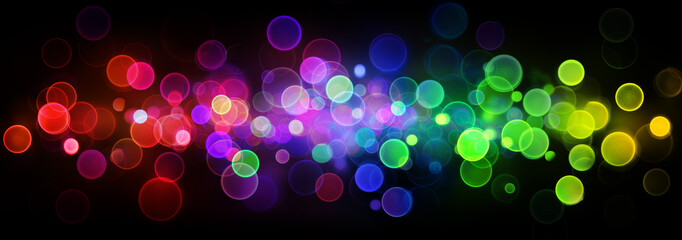 Vintage Abstract Bokeh Colorful Lights On Black