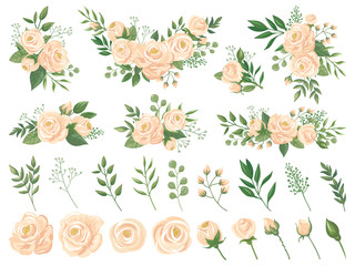 Floral bouquet. Rose flowers, gardening roses bouquets and pastel colors flower buds with petals cartoon vector illustration set
