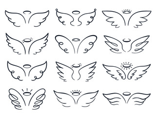 Cartoon sketch wing. Hand drawn angels wings spread, winged icon doodle vector illustration set