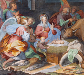 Wall Mural - COMO, ITALY - MAY 8, 2015: The fresco of Nativity in church Basilica di San Fedele by unknown artist of 16. cent.