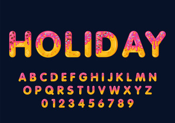 Donut cartoon holiday biscuit bold font style