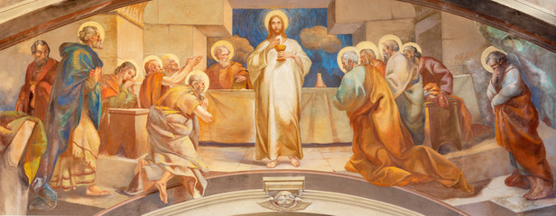 COMO, ITALY - MAY 9, 2015: The fresco of Last Supper in church Chiesa di San Andrea Apostolo (Brunate) of by Mario Albertella (1934).