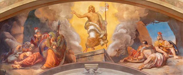 Wall Mural - COMO, ITALY - MAY 9, 2015: The fresco of Resurrection of Jesus in church Chiesa di San Andrea Apostolo (Brunate) of by Mario Albertella (1934).