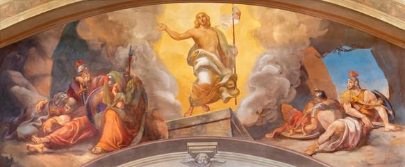 Fototapete - COMO, ITALY - MAY 9, 2015: The fresco of Resurrection of Jesus in church Chiesa di San Andrea Apostolo (Brunate) of by Mario Albertella (1934).