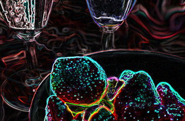 dark illustration with colorful outline with a hint on strawberry and wineglass