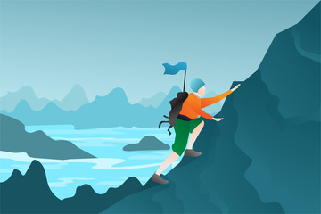 Man with bag and flag on the mountain. Extreme outdoor sports. Climbing the mountains. Business and Adventure concept flat design in eps10 vector illustration.  Fototapete