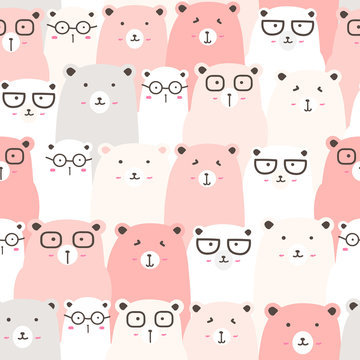 Seamless pattern with cute bear background, Cute bear doodle art for kids, Vector illustrations for gift wrap and fabric design.