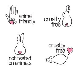 Set of linear icons for cruelty free concept and not tested on animals products