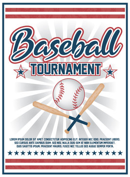 Baseball tournament flyer design vector