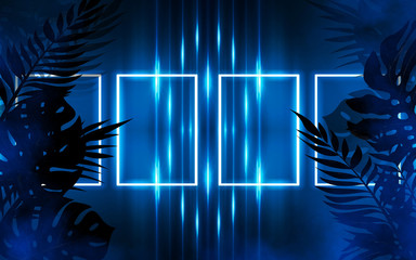 Background of empty dark scenes with neon lights and shapes, smoke. Silhouettes of tropical palm leaves in the foreground. Bright futuristic abstract background