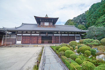 Kyoto, Japan - November 10, 2016: Beautiful historic hall at front gate of Tofukuji temple. It is one of the major Zen temples of Kyoto, Japan.