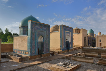 The historical necropolis of Shakhi Zinda was formed over eight (from 11th till 19th) centuries. Samarkand, Uzbekistan