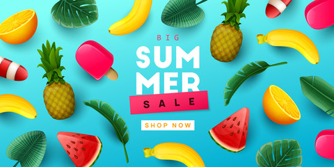 Summer sale background with tropical fruits and palm leaves. Vector illustration