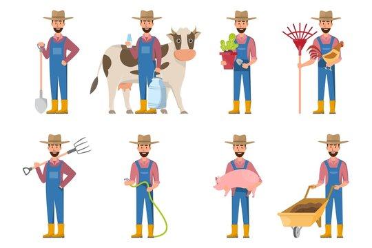 happy farmer cartoon in many characters set