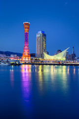 Fotomurales - Port of Kobe skyline at night in Kansai, Japan