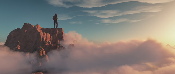 Climber on top of a mountain Wall mural