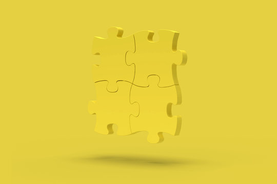 Yellow puzzle on a yellow background. Abstract image. Minimal concept problem business. 3D render.