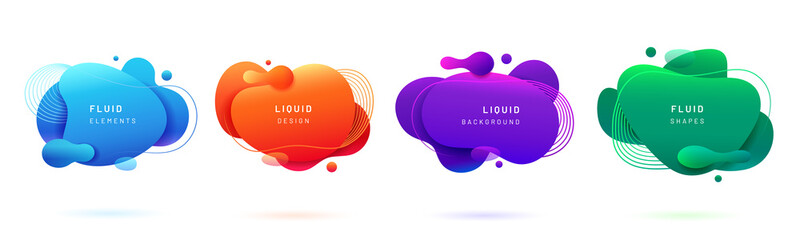 Set of isolated blue and red fluid blobs, gradient green and violet liquid spots. Abstract 3d brush spats for poster design or flyer background, banner template. Geometric shapes with dynamic colors Papier Peint