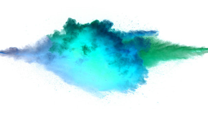 Collision of colored powder isolated on white Wall mural