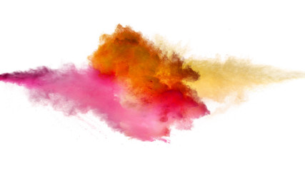 Fototapete - Collision of colored powder isolated on white