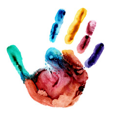 Watercolor colorful handprint. The picture was obtained by applying watercolor paint on the palm, after which it made an imprint on the paper.