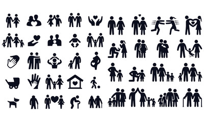 Love and family life black & white icon set