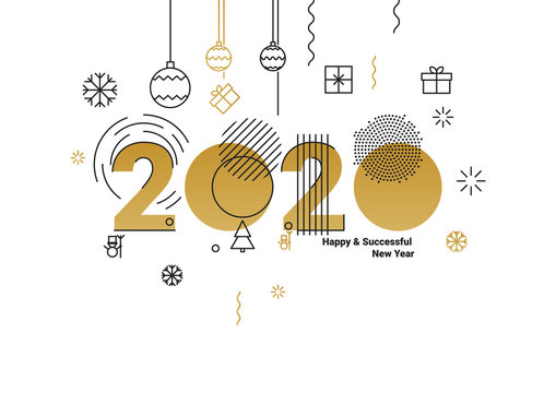 Business Happy New Year 2020 greeting card. Vector illustration concept for background, greeting card, banner for website, social media banner, marketing material.