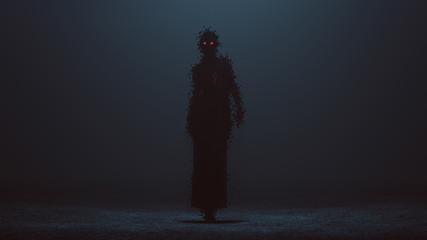 Futuristic Cyber Punk Demon Digital Virus in a Pantsuit Walking Formed out of lots of Small Cubes with Red Eyes and a Glowing Red Heart 3d illustration 3d render
