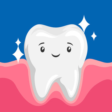 Illustration of smiling clean healthy tooth.