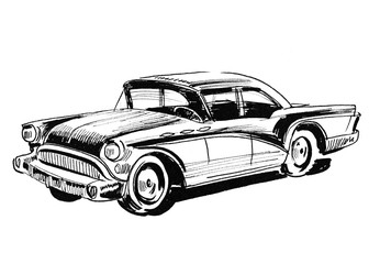 Ink black and white drawing of a Classic American Car Wall mural