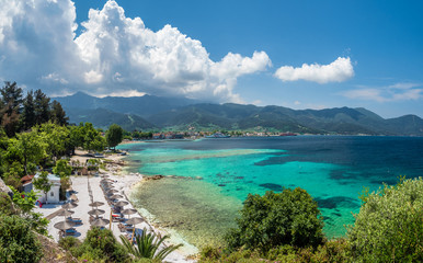 Wall Mural - Panoramic View on Limenas Thasou, capital and main port of Thassos island,  Greece