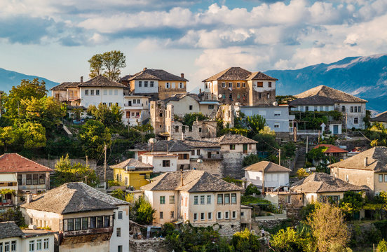 Historical UNESCO protected town of Gjirocaster , Southern Albania