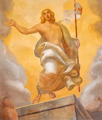 Fototapete - COMO, ITALY - MAY 9, 2015: The detail of fresco of Resurrection of Jesus in church Chiesa di San Andrea Apostolo (Brunate) of by Mario Albertella (1934).