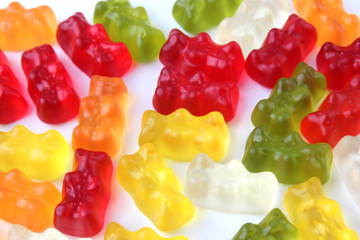 Jelly bears on a white background. Multicolored sweets on a white background.