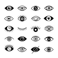 Set of eyes black logo. Vector