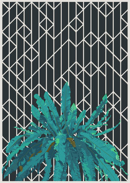art deco and tropical plant