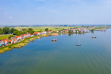Aerial from the traditional village Durgerdam at the IJsselmeer in the Netherlands