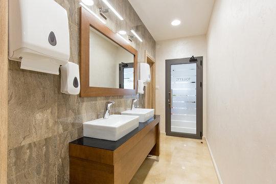 Public toilet in hotel restaurant