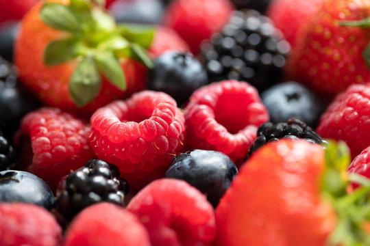 Full Frame Short Of Assorted Berries Strawberry Blueberry Raspberry Blackberry